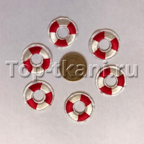 Термоаппликация Круг спасательный красная (2,2 см)