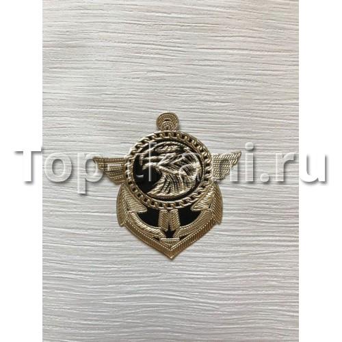 Термоаппликация Якорь золотой (80*65 мм, 1 штука)