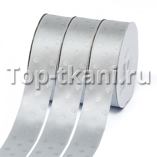 Лента атласная Ideal - горошек серебро на сером, ширина 25 мм