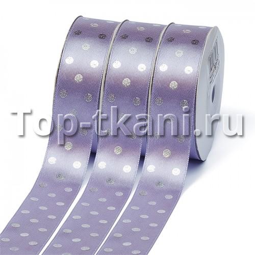 Лента атласная Ideal горошек серебро на сиреневом - ширина 25 мм