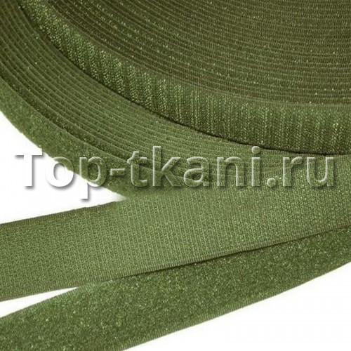 Липучка (лента контакт, велькро) для одежды хаки (25 мм, 1 метр)