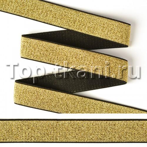 Резинка тканая металлизированная черная/золото (20 мм, 1 метр)