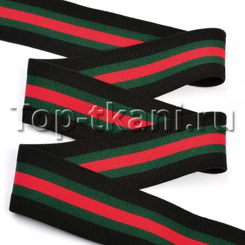 Резинка тканая - Черный-Зеленый-Красный