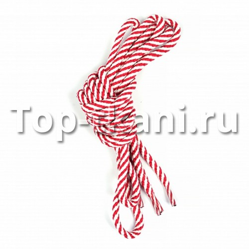 Шнурки круглые - Бело-малиновый винт
