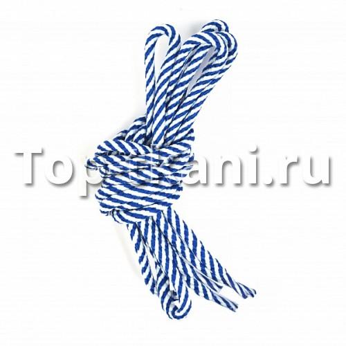 Шнурок круглый - Бело-синий винт (1 штука)