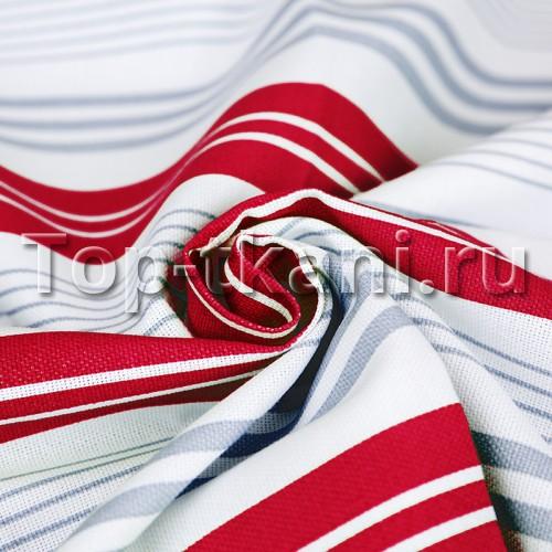 Рогожка - Полоска серая и красная (ширина 150 см, 100% Хлопок)
