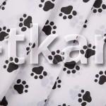 Лоскут Бязь детская - Лапки черные (0,4 м * 1,5 м)