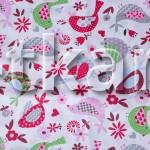 Лоскут Бязь детская - Птички (цвет красный) (100 см * 150 см)