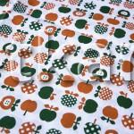 Бязь детская - Яблочки (цвет белый, коричневый, зеленый, 100% хлопок, ширина 150 см)