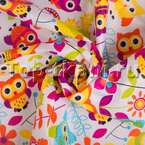 Бязь набивная - Совы (разноцветная, с рисунком, ширина 150 см)