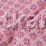 Бязь набивная - Цветочки (компаньон к Совушкам) цвет насыщенный розовый, ширина 150 см, 100% хлопок)