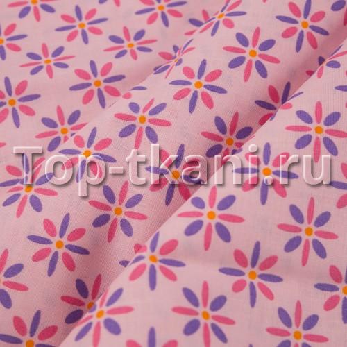 Лоскут Бязь набивная - Цветочки (20 см * 140 см)