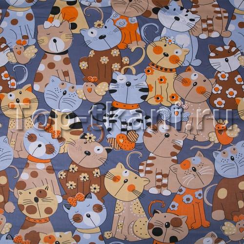 Бязь набивная - Коты (с рисунком коты, ширина 150 см)