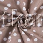 Бязь набивная - Какао горошек (цвет розовый, белый, коричневый, рисунок горошек, ширина 220 см)