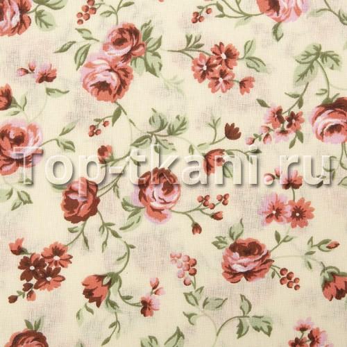 Бязь набивная - Красные цветы (ширина 220 см)