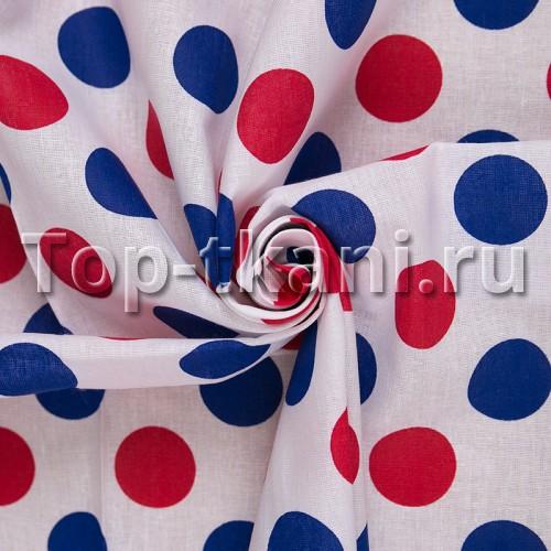 Бязь набивная - Круги синие и красные (цвет синий и красный, ширина 150 см)