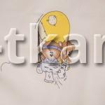 Бязь набивная - На воздушном шаре (цвет бежевый, с рисунком медвежата на воздушном шаре, ширина 150 см)