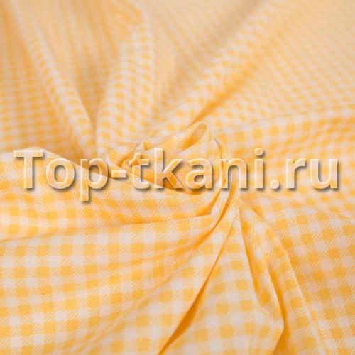 Лоскут Бязь набивная - Желто-Оранжевая клетка (40 см х 150 см)
