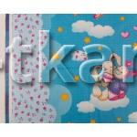 Бязь набивная Премиум - Плюшевые игрушки на облаках (ширина 150 см)