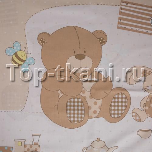 Бязь набивная - Приключения Тедди (КУПОН 1,3 МЕТРА, ширина 150 см)