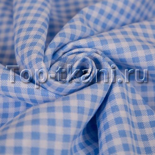 Бязь набивная - Синяя клетка (цвет нежно-синий, ширина 150 см)