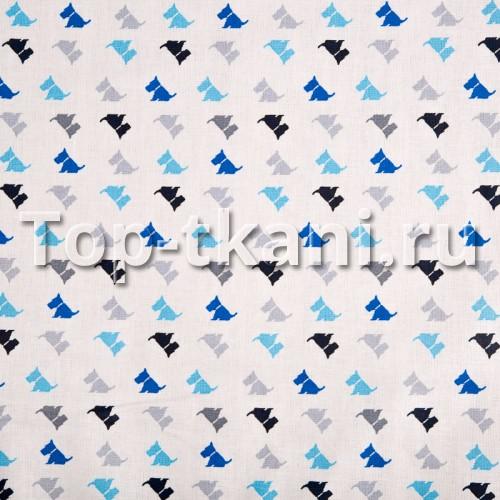 Бязь набивная - Собачки на белом (ширина 150 см)