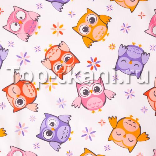 Бязь набивная - Совушки (разноцветная, с рисунком, ширина 150 см)
