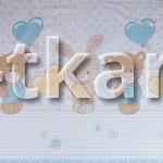 Бязь набивная - Ты и Я (голубой) с рисунком медвежонок, зайка, воздушный шарик, цвет голубой + мультиколор, ширина 150 см)