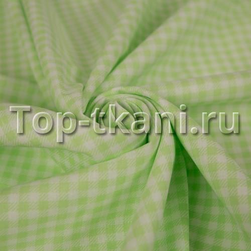 Лоскут Бязь набивная - Зеленая клетка (50 см * 150 см)