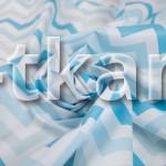 Лоскут Бязь набивная - Зигзаг голубой (90 см * 150 см)