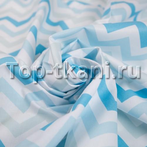 Бязь набивная - Зигзаг голубой (цвет насыщенно-голубой, светло-голубой, белый, с рисунком, 100% хлопок, ширина 150 см)