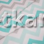 Бязь набивная - Зигзаг Ментол ОСТАТОК 4,6 МЕТРА (цвет бирюзовый, белый, рисунок зигзаг, ширина 150 см)