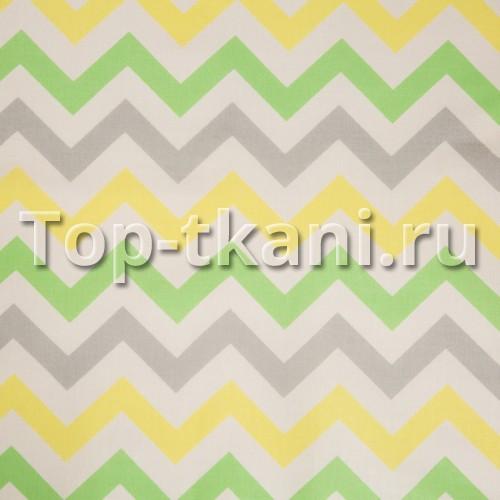 Бязь набивная - Зигзаг Желто-серо-зеленый (ОСТАТОК 1 МЕТР)