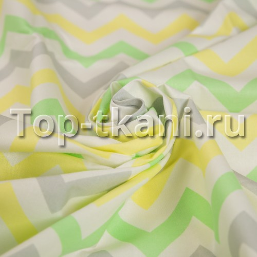 Бязь набивная - Зигзаг Желто-серо-зеленый (ОСТАТОК 4 МЕТРА, цена указана за 1 пг.м)