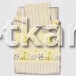 Бязь набивная - Зверята (желтый) цвет желтый, бежевый, белый, с детским рисунком, 100% хлопок, ширина 150 см)
