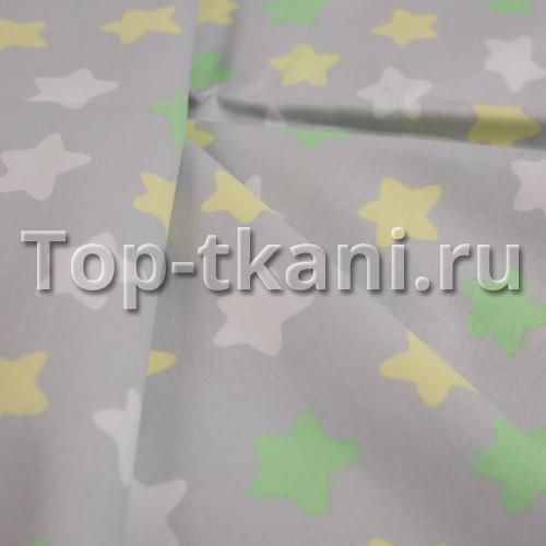 Лоскут Бязь набивная - Звезды на сером (60 см * 150 см)
