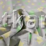 Бязь набивная - Звезды на сером (цвет серый, зеленый, желтый, белый, с рисунком звезды, 100% хлопок, ширина 150 см)