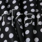Лоскут Бязь плательная - Крупный белый горох на черном (95 см * 150 см)