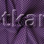 Бязь плательная - Мелкий горох на фиолетовом (ширина 150 см, 100% хлопок)