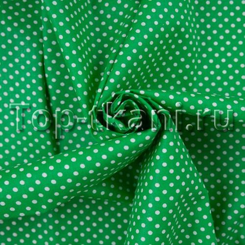 Бязь плательная - Мелкий горох на зеленом (ширина 150 см, 100% хлопок)
