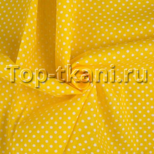 Лоскут Бязь набивная - мелкий горох на желтом - ВНИМАНИЕ, ЕСТЬ МЕЛКИЕ ДЕФЕКТЫ, СМ ФОТО (45 см * 150 см)