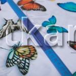 Бязь Премиум - Бабочки (цвет белый   мультиколор, с рисунком, ширина 220 см, 100% хлопок)