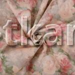 Бязь набивная Премиум класса - Пионы (с рисунком цветы, цвет персиковый, розовый, зеленый, ширина 220 см, 100% хлопок)