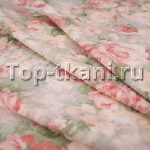 Лоскут Бязь набивная Премиум класса - Пионы (50 см * 220 см)