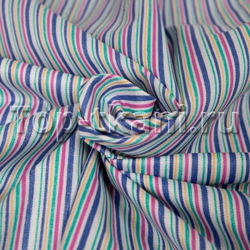 Бязь Традиция - Айрис (цвет мультиколор, с рисунком полоска, ширина 220 см)