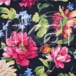 Бязь Традиция - Летние мотивы (Black) (цвет черный   мультиколор, с рисунком цветы, ширина 220 см)