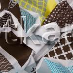 Бязь Традиция - Треугольники (цвет мультиколор, голубой, желтый, белый, коричневый, с рисунком треугольники, ширина 220 см)