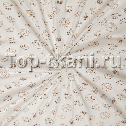 Интерлок набивной - Маленькие зверушки - коричневый контур на бледно-бежевом (95 см Чулок, в разрезе 190 см)
