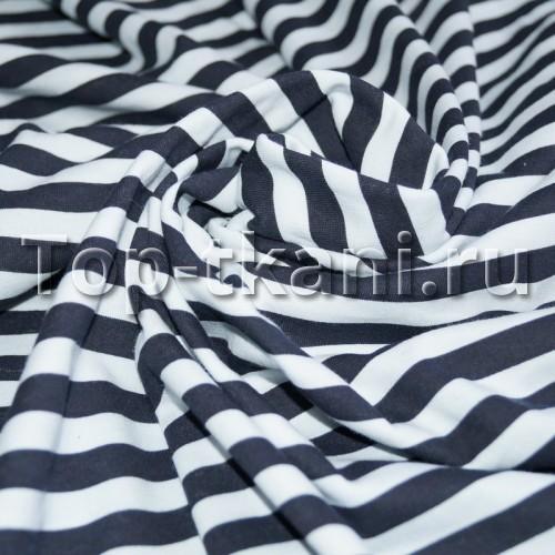 Лоскут Кулирная гладь - Тельняшка темно-синяя (180 см * 100 см Чулок,  в разрезе 200 см)