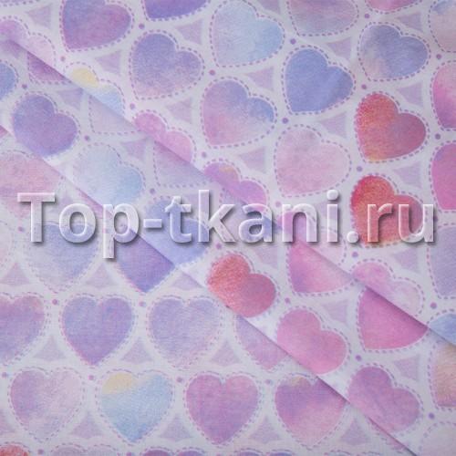 Перкаль набивной - Сердечки (ширина 150 см)